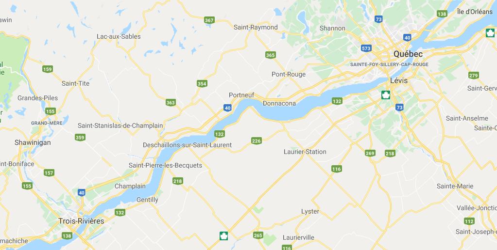 Carte du Fleuve Saint-Laurent - Appâts du nord
