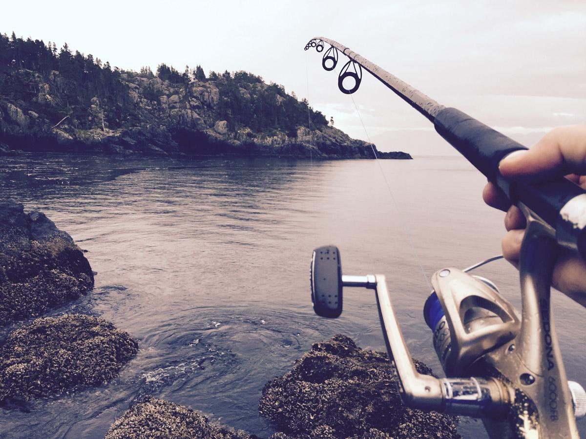 Canne à pêche et paysage - Appâts du nord